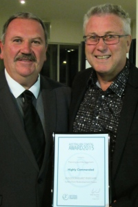Gary Evershed , CEO of the Augusta Margaret River Shire in Western Australia, was presented with a Highly Commended certificate for the Shire's entry titled Surfers Point Redevelopment Project.
